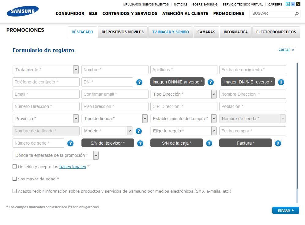 Registro de la promocion Samsung